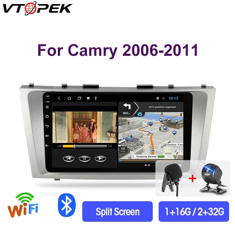 """Vtopek 9 """"4G + WiFi Android 9,0 Radio Multimedia para coche reproductores de vídeo navegación GPS para Toyota Camry 40 50 2006-2011 Unidad Principal 2 din"""