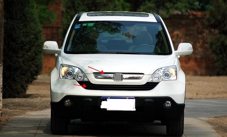 Para Honda CRV/CR-V 2007-2009, rejilla de rejilla para parachoques, parte superior inferior plateada, 2 uds