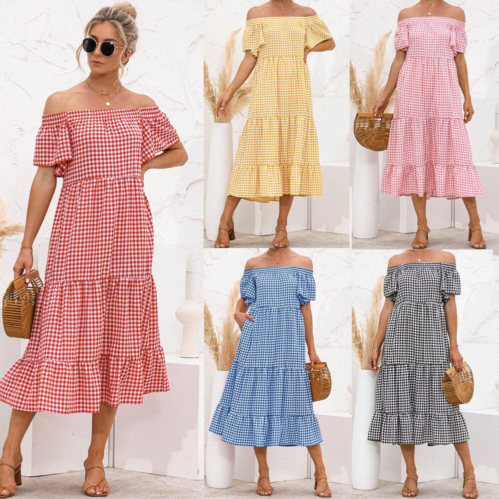 Chic Women Off Shoulder Dress Summer Plaid Print Ruffles Loose Elegant Boho Midi Cake Sweet Short Sleeve Dresses 2021 New