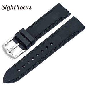 20mm 24mm Silicone Rubber Watchband for Tissot Seiko Black Universal Strap Wrist Belt Bracelet Sport Rubber Band Reloj Hombres