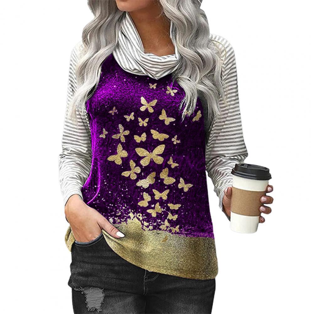 blusas Women Shirt Print Striped Pullover High Collar Butterfly Print Loose Blouse Patchwork High Collar Autumn Shirt Рубашки