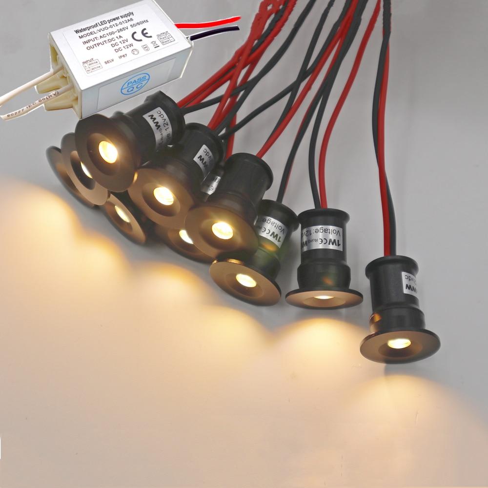 10 قطعة صغيرة راحة LED 1 واط النازل 12 فولت فوكو الأضواء المنزل سقف الدرج ممرات خزانة ديكور لمبة اسبوت ضوء مع سائق