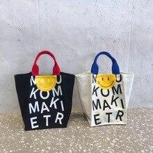 Korea Fashion 2021 Spring/Summer INS Net Red Smiley Letter Print Canvas Bag Korean Hand Wing Bag Fem