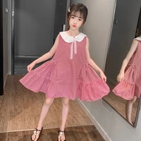 children girls plaid summer dress sleeveless princess party dress for girls clothes casual vestidos 4 6 8 10 12 years kids dress
