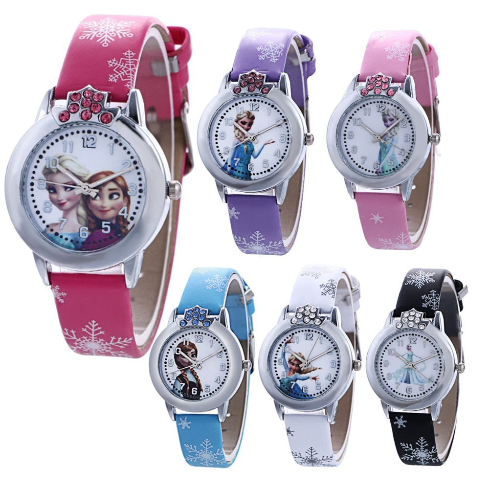 Disney frozen cartoon moda feminina relógio de moda estudante tendência digital dos desenhos animados cinto relógio de quartzo feminino