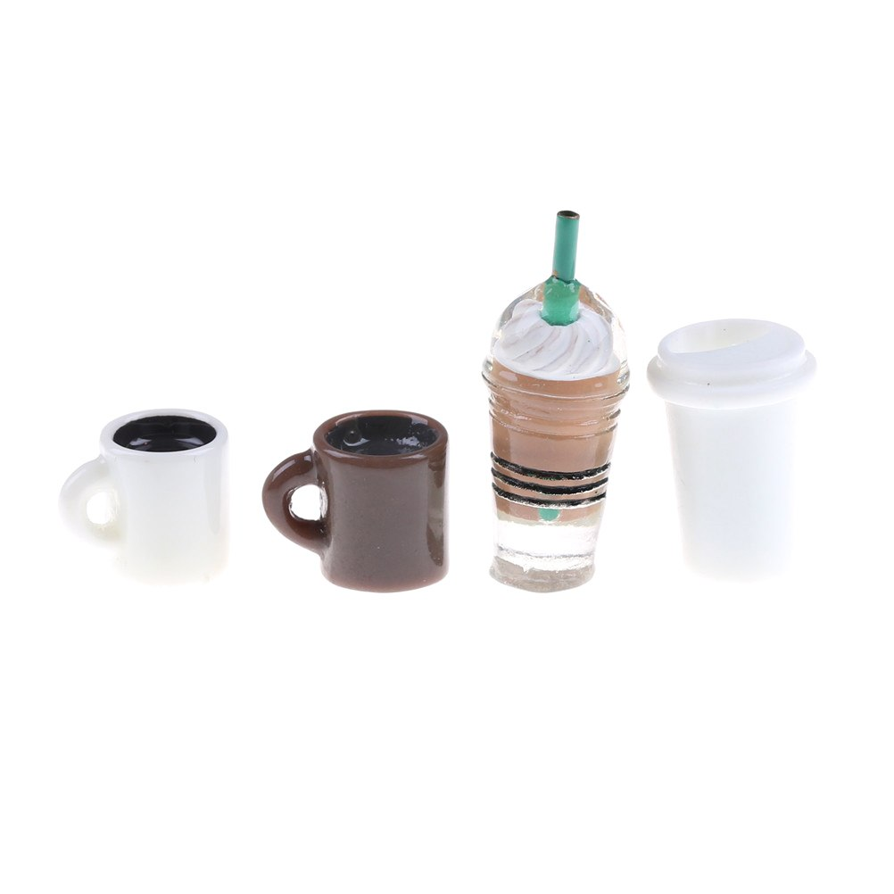 4Pcs Kitchen Room Food Drink Cup For Coffee Cup Mini World Dolls Accessories DIY Miniature Dollhouse