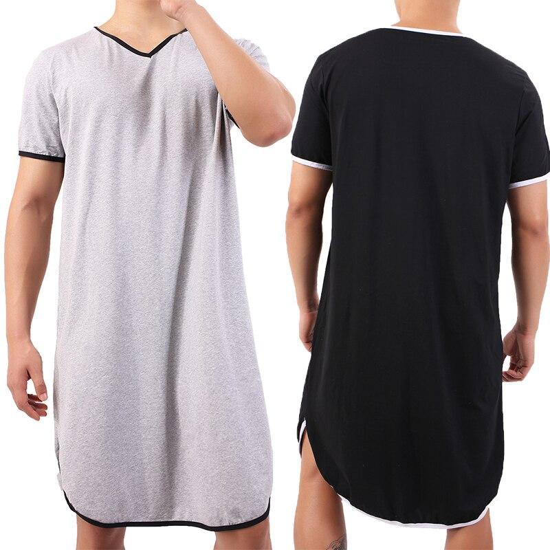 بيجاما قطنية بأكمام قصيرة للرجال ، ملابس نوم ، رداء حمام فضفاض غير رسمي ، ملابس منزلية ، ثوب نوم