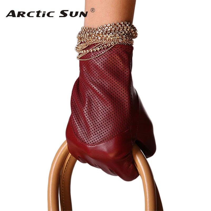 Special Offer 2020 Sale Dark Red Women Gloves Fashion Genuine Leather Warm Wrist Winter Sheepskin Glove Free Shipping L090NN