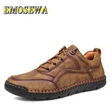 EMOSEWA Men's Genuine Leather Shoess Casual Shoes Trend Comfortable Men Shoes outdoor British Fashio