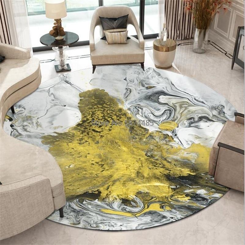200 سنتيمتر الحديثة مجردة الذهب الأسود والأبيض الحبر النفط اللوحة غرفة المعيشة غرفة نوم سلة معلقة كرسي حصيرة الكلمة المستديرة السجاد