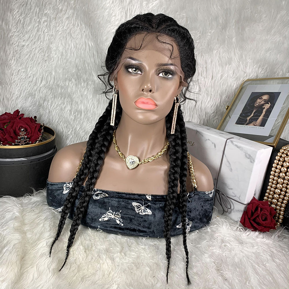 Braided 360 Lace Front Wig African Braids Wig Hair Toocci Tresse Cornrow Synthetic Box Braid Wigs Hair Knotless Braids Wig Women
