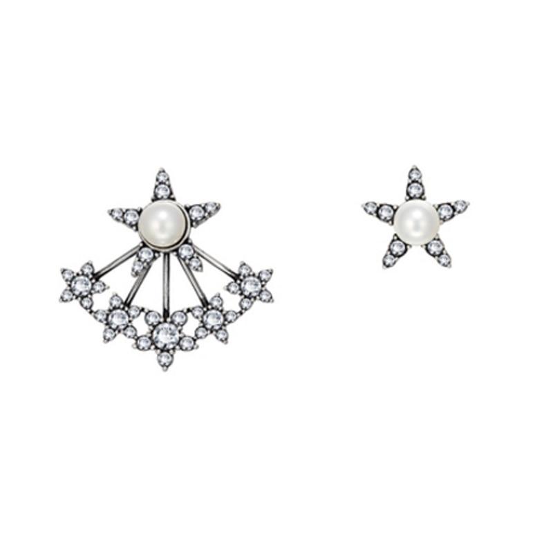 Negro Color de la pistola de doble lado Stud pendiente pendientes de borla con cuentas de perla AAA Cubic Zirconia diamante mujeres joyería de la marca