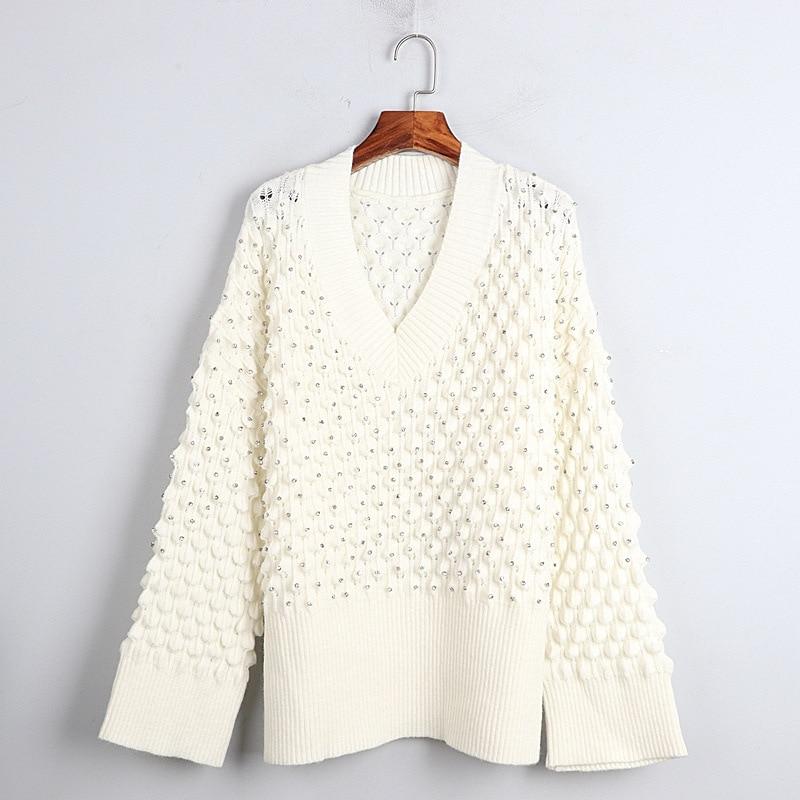 1101 2020 осенний свитер Бесплатная доставка с v-вырезом и длинным рукавом, Кинт бусины черный, белый цвет; Модная женская одежда, размер S m L dl
