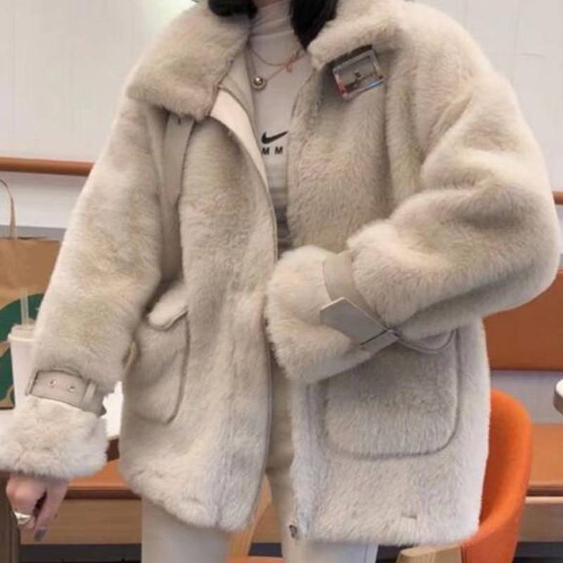 2020 Autumn Winter New Korean Warm Coat Stand Collar Loose Casual Tops Solid Color Double Pockets Zip Women Jacket stand collar zip front epaulet trucker jacket