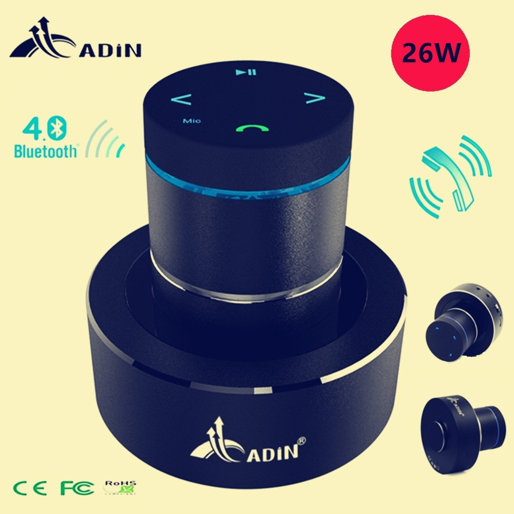 Adin 26w Portable Metal Vibration Speaker Bluetooth Resonance Touch Stereo Bass Vibrating Wireless Subwoofer Mic Speakers Phone