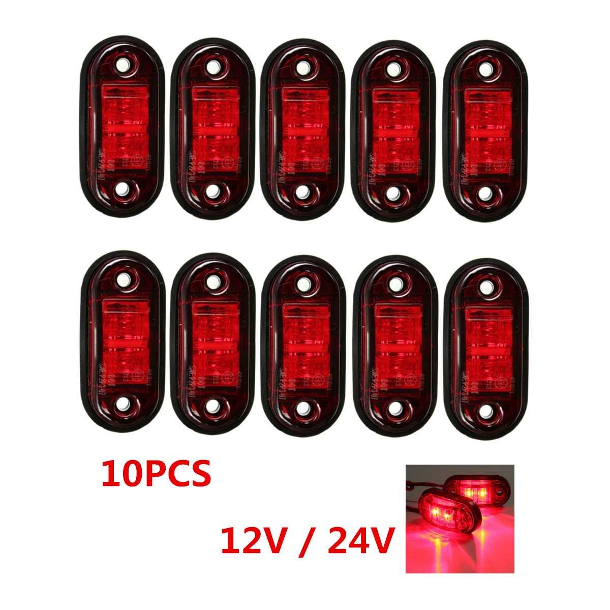 10pcs 12V 24V LED Car Truck Side Marker Lights Clearance Lamp Signal Indicator Lamp Tail Light Red Trailer Boat Bus Lorry