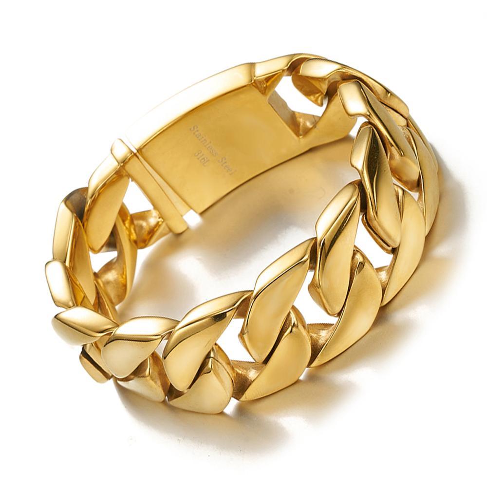 Brazalete de acero inoxidable 316L para mujer, joyería pesada, brazalete 26mm de ancho de oro, cadena cubana, 8,46 pulgadas