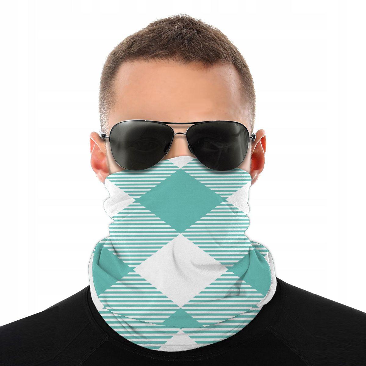 Teal Gingham Monogram Magic Scarf Neck Face Mask Men Women Halloween Tube Mask Neck Bandana Polyester Headwear Biking Hiking