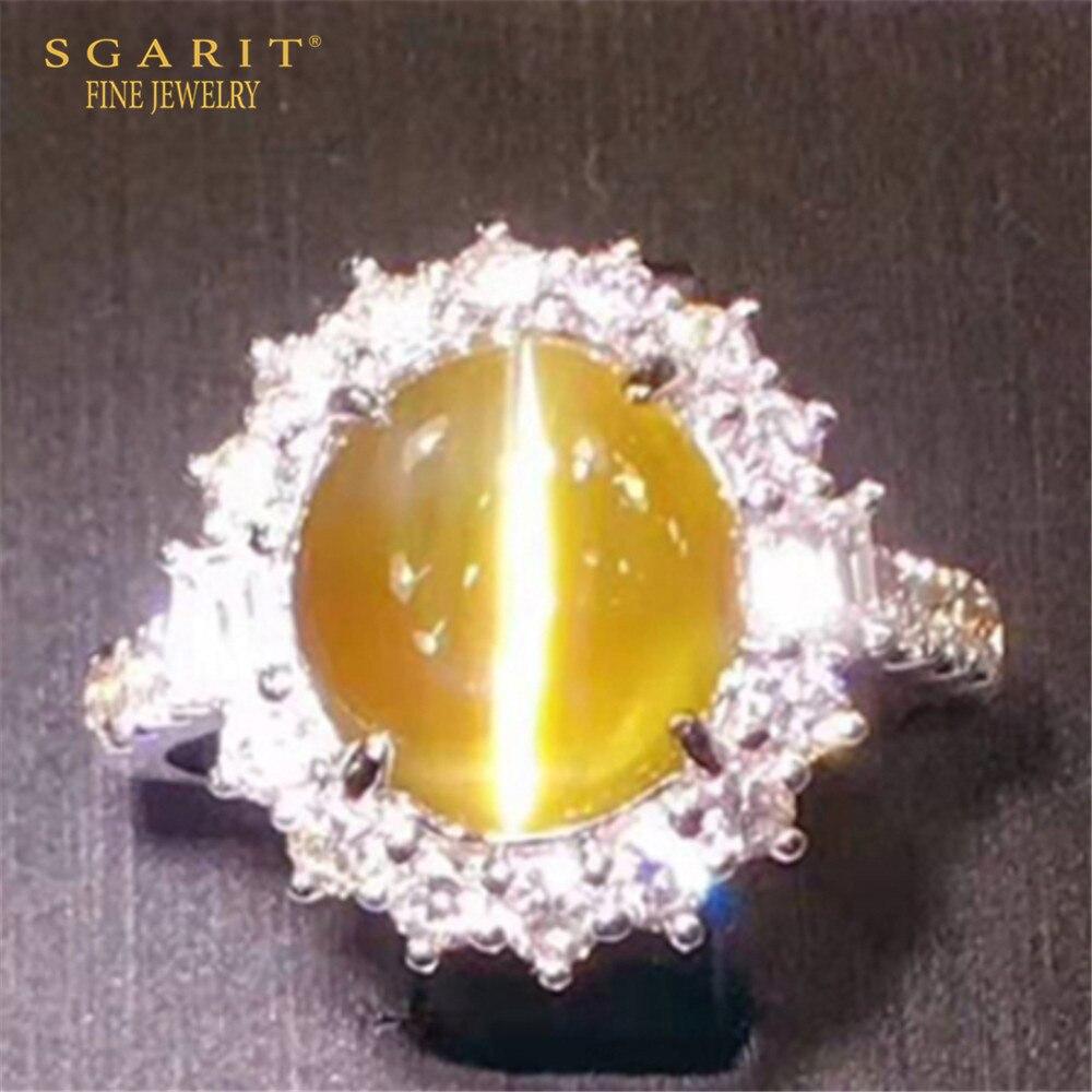 Alta calidad, joyería de piedras preciosas de ojo de gato de Sri Lanka, 6, 14ct, Color miel, anillo de crisoberilo Natural, oro de 18k
