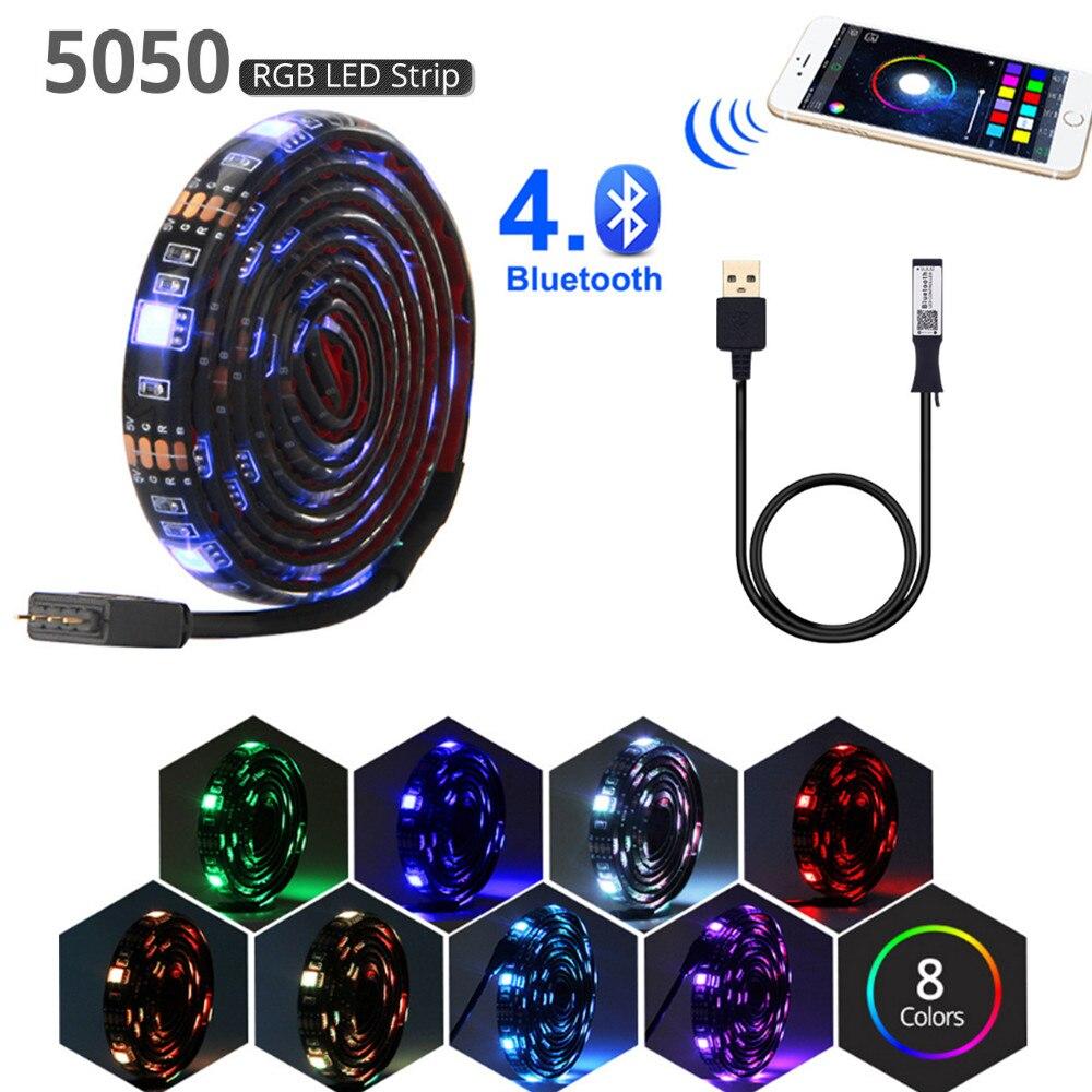 Bluetooth usb led franja de 5v luz led flexible rgb 1M 2M 3M 5M SMD 5050 para HDTV TV luces de retroiluminación tiras impermeable lámpara de neón