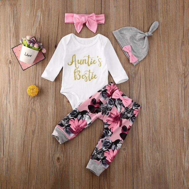 4 Uds. Ropa de bebé recién nacido para niñas, pantalones de mameluco, polainas, lazo Floral, flor, diadema, gorra, conjunto