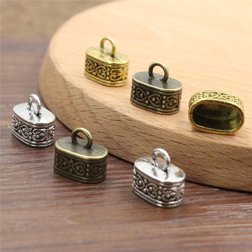 20 Uds. De tapas para extremos de engaste del cordón de oro y plata antigua, puntas de hebilla para collar, cuerdas de pulsera conectores de cables, agujero de cierre aprox. 12x7mm
