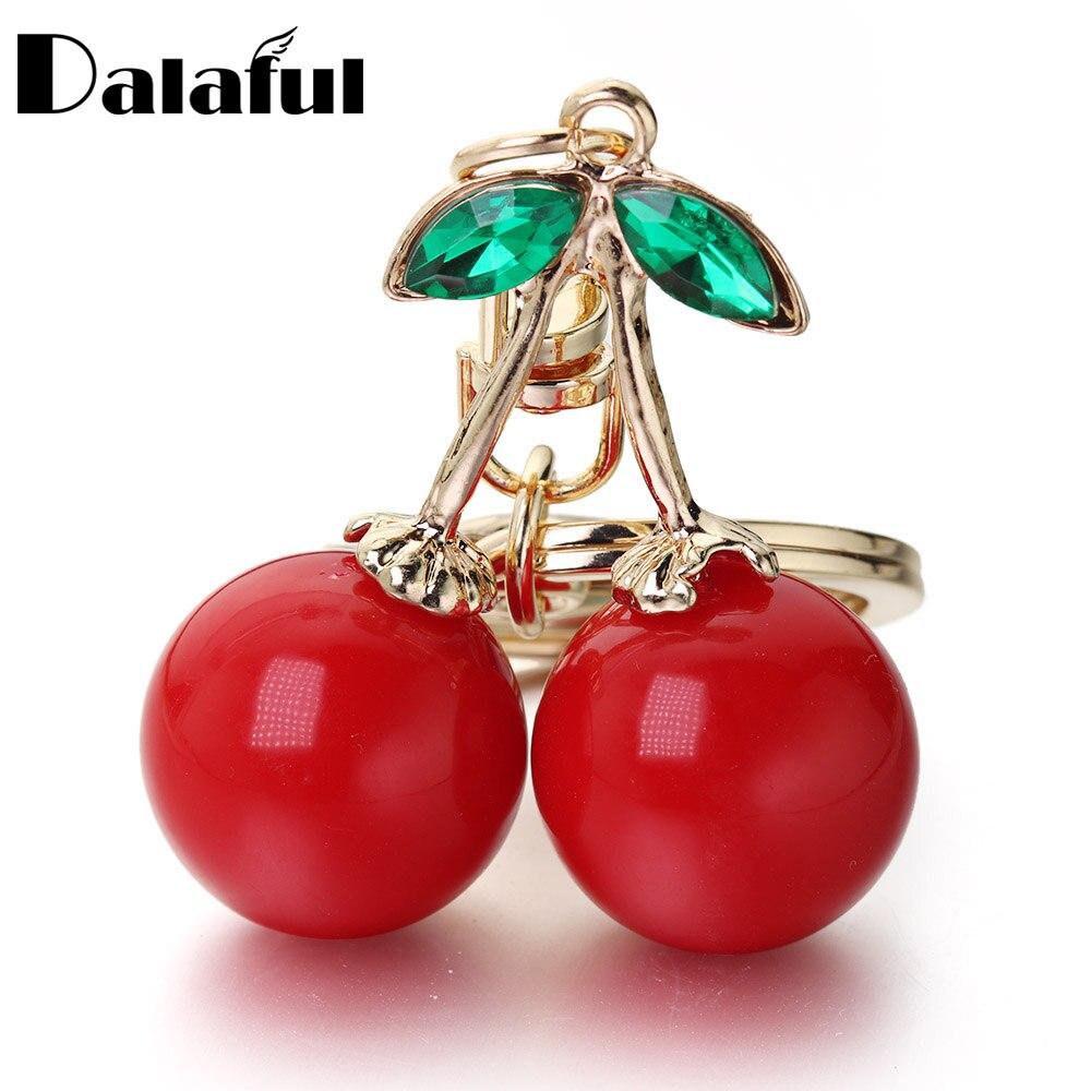 LLavero de cereza roja llavero de diamantes de imitación de cristal lindo fruta bolso colgante accesorios llavero anillo de joyería K401