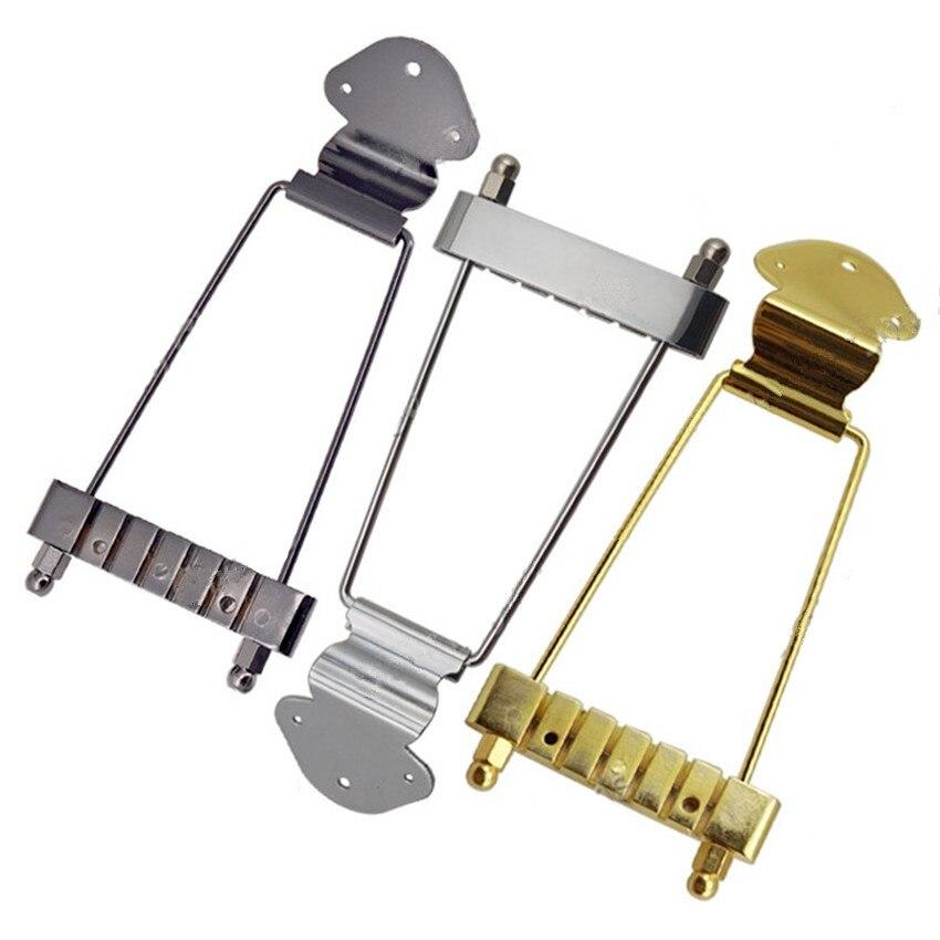Un juego de 6 cuerdas Archtop Trapeze Tailpiece para hueco Semi hueco guitarra eléctrica Oro Negro cromado piezas accesorios para guitarra