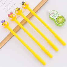 Bolígrafo de Gel con cabeza de muñeca amarilla Kawaii, bolígrafos escolares de 0,5mm, suministros de escritura para la escuela y la Oficina, regalo de papelería