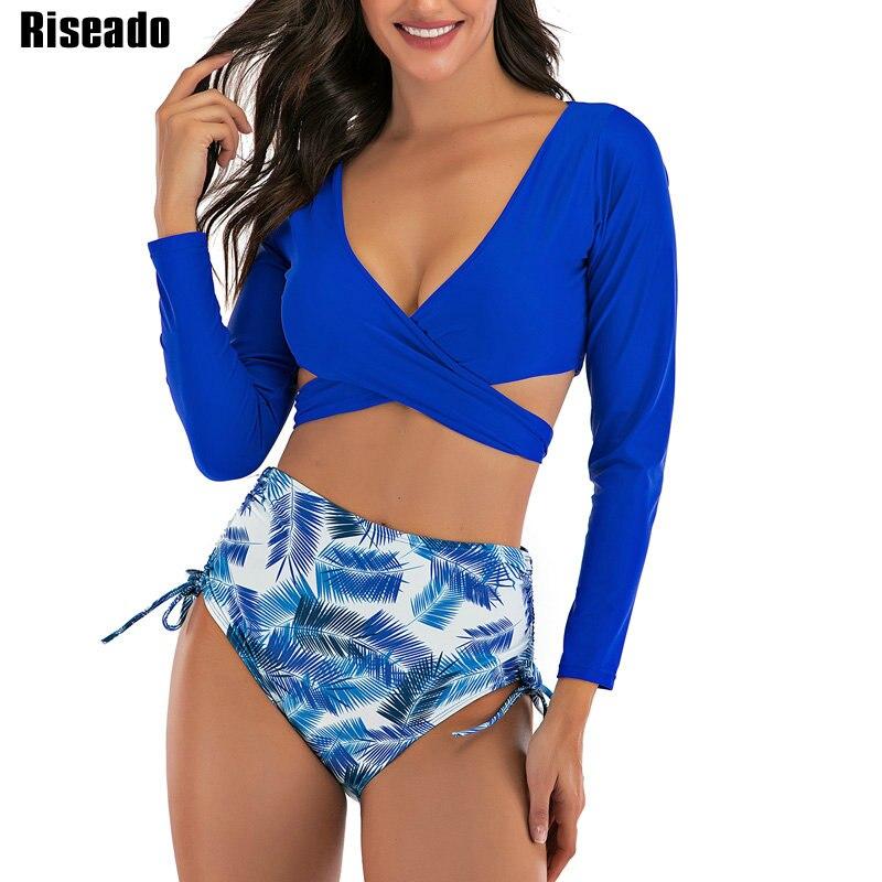 Riseado Sexy taille haute Bikinis ensemble maillots de bain femmes croix Wrap maillots de bain à manches longues feuille imprimer maillots de bain 2020 vêtements de plage
