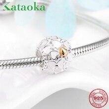 Mode 925 Sterling Silber Weiß Emaille Charms Herz Goldene Perlen Fit Original Charme Armband Schmuck machen