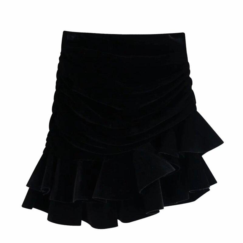 Minifalda asimétrica plisada de terciopelo negro a la moda para mujer, faldas para mujer, vestidos con cremallera en la espalda, faldas con volantes elegante QUN524