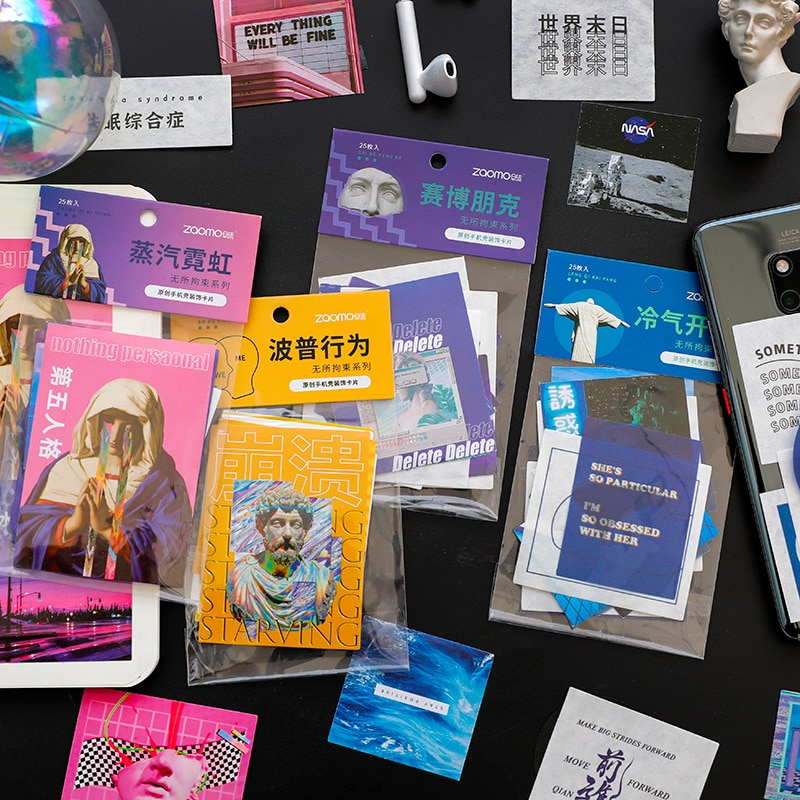 25-pz-pacco-retro-vapor-wave-adesivi-decorativi-scrapbooking-stick-etichetta-diario-album-cancelleria-pittura-adesivi-accessori