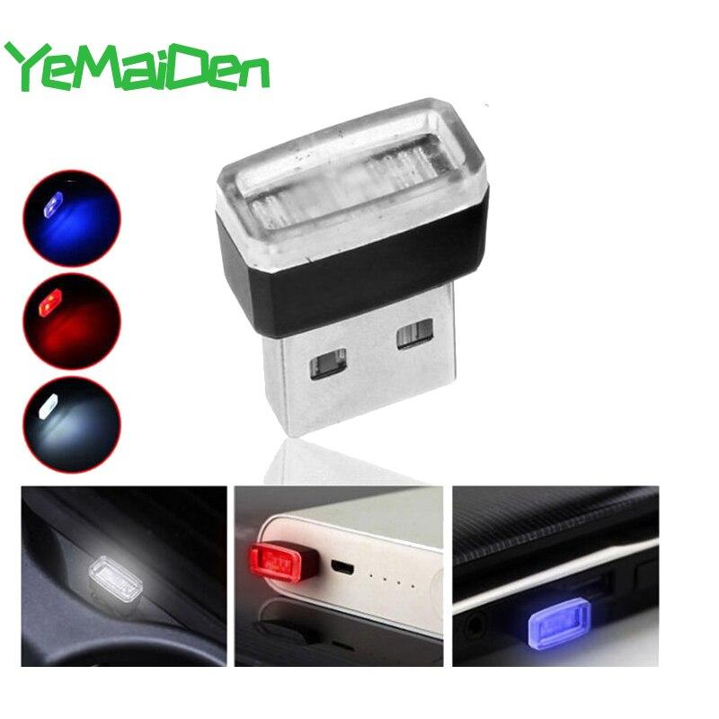 Miniluz LED USB pequeña para decoración de interiores de coche, iluminación de emergencia ambiental, accesorios portátiles, rojo, azul, blanco, púrpura