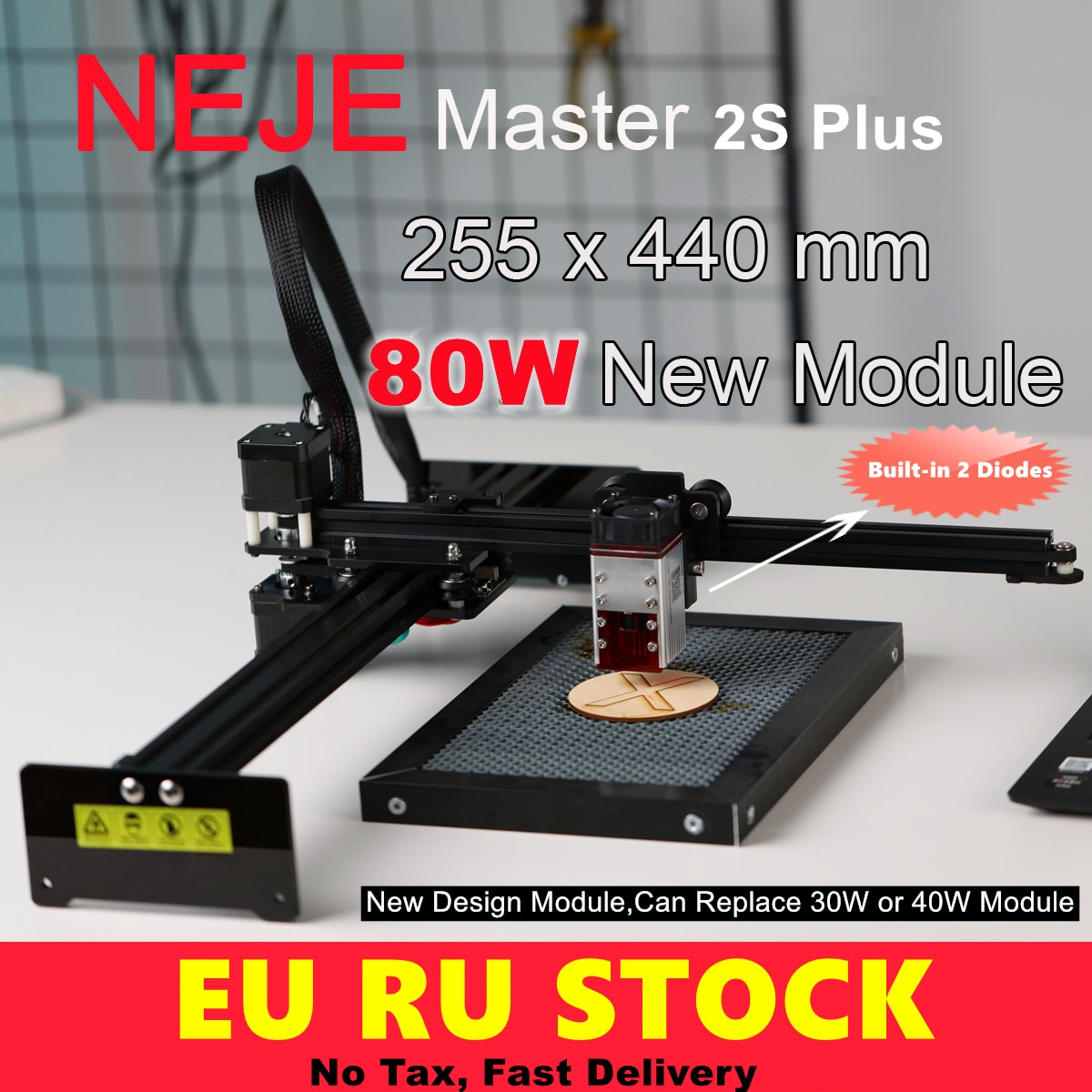 NEJE Master 2s Plus A40640 80W CNC Wood Laser Cutting Cutter Engraver Engraving Machine Router Lightburn,Bluetooth-App Control neje master 2s max 80w cnc double beam laser engraver cutter engraving cutting machine bluetooth lasergrbl lightburn 460x810mm