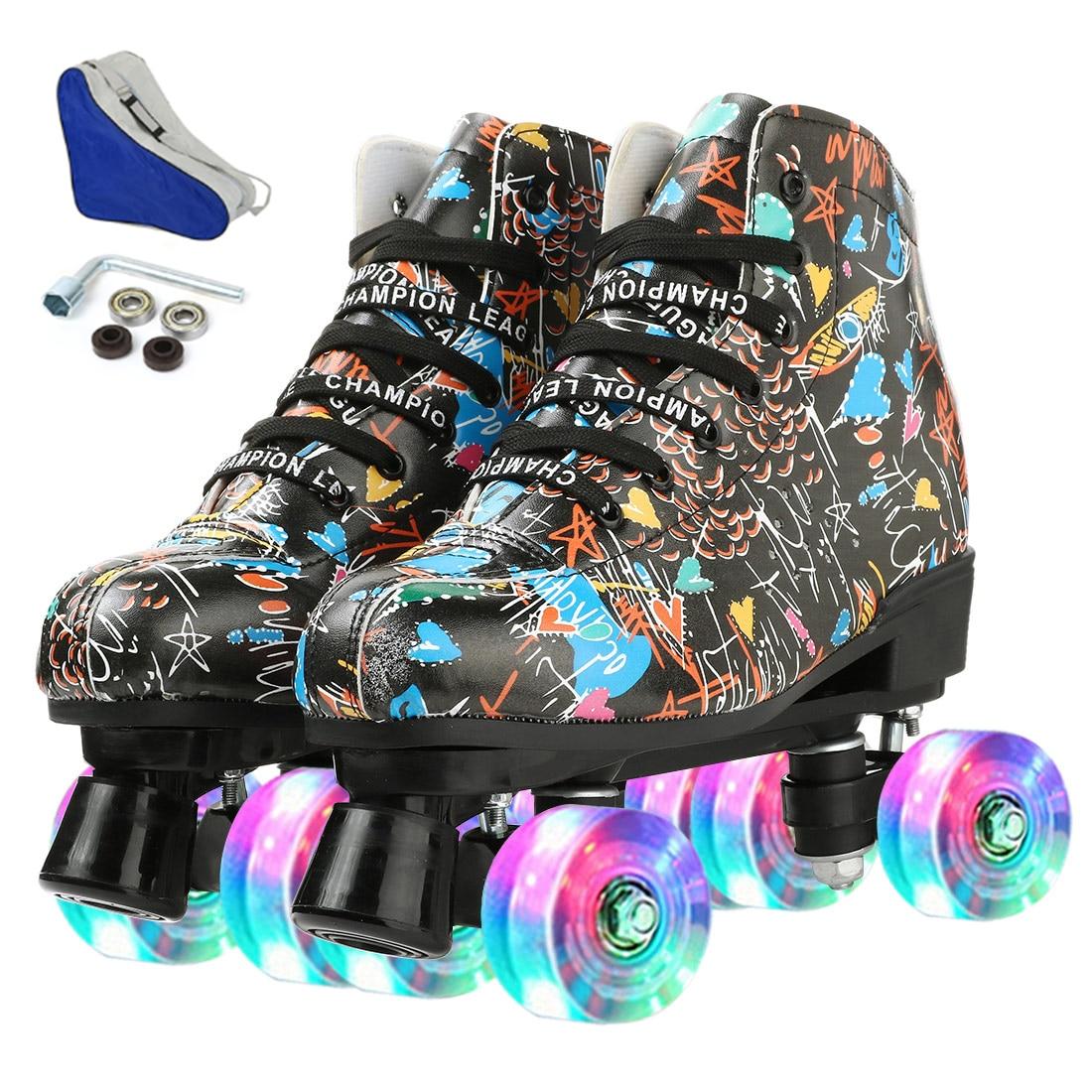 Женские кожаные роликовые коньки из микрофибры, обувь для катания на коньках, сдвижные четырехколесные кроссовки, 4 колеса для взрослых, ули...