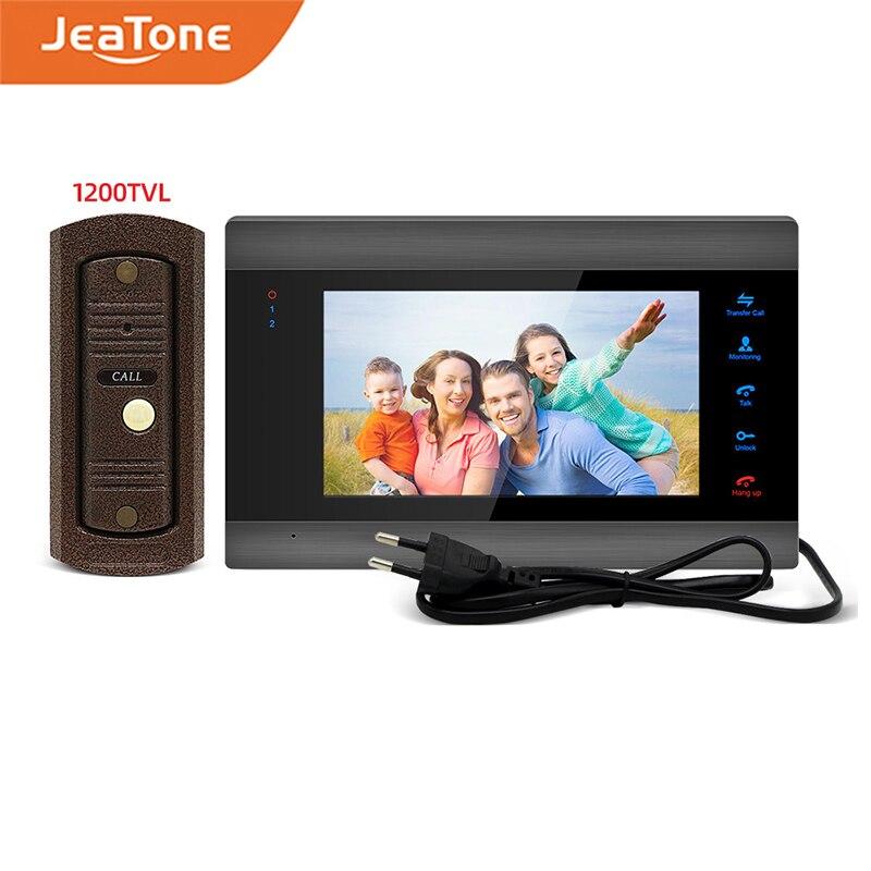 Home Intercom Video Door Phone Built-in Power White/Black 7 inch Monitor 1200TVL Wide Angle Lens Doorbell Video Intercom System