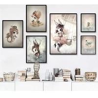 Affiche de decoration pour salon  toile nordique imprimee  fille Bedoom  image murale cerf  lapin  aile dangle  Animal abstrait doux