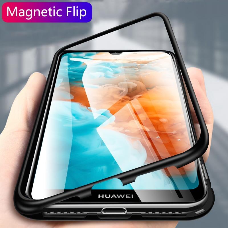 Capa de vidro de adsorção magnética, capinha de metal para huawei honor 10 p30 p20 lite mate 20 pro nova 5 5i 3i 3 capa 4 y9 prime p smart z 2019