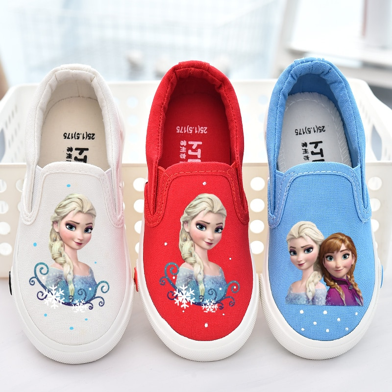 Fashion canvas loafer girls cartoon anna elsa sneaker children flats kids shoe child school sport casual shoes baby toddler