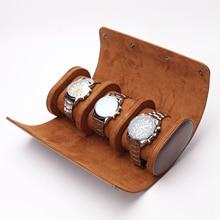 3 Slots Watch Storage Box Chic Portable Vintage Leather Watch Roll Detachable Display Wristwatch Pou