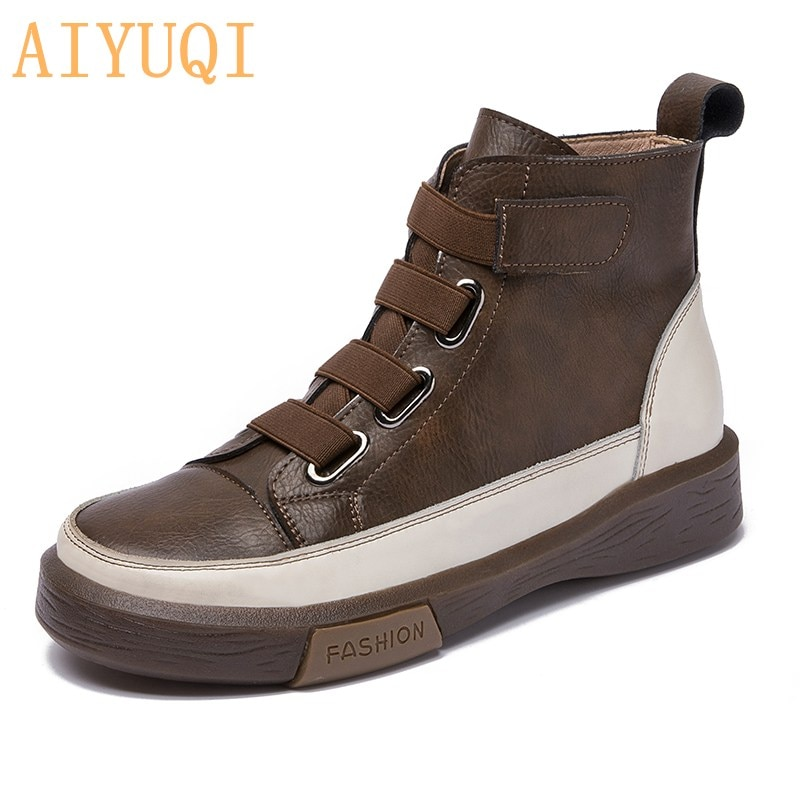 AIYUQI Women Spring Shoes Flat Genuine Leather 2021 New Color Matching Front Tie Ladies Single Boots Trend Girl Student Shoes