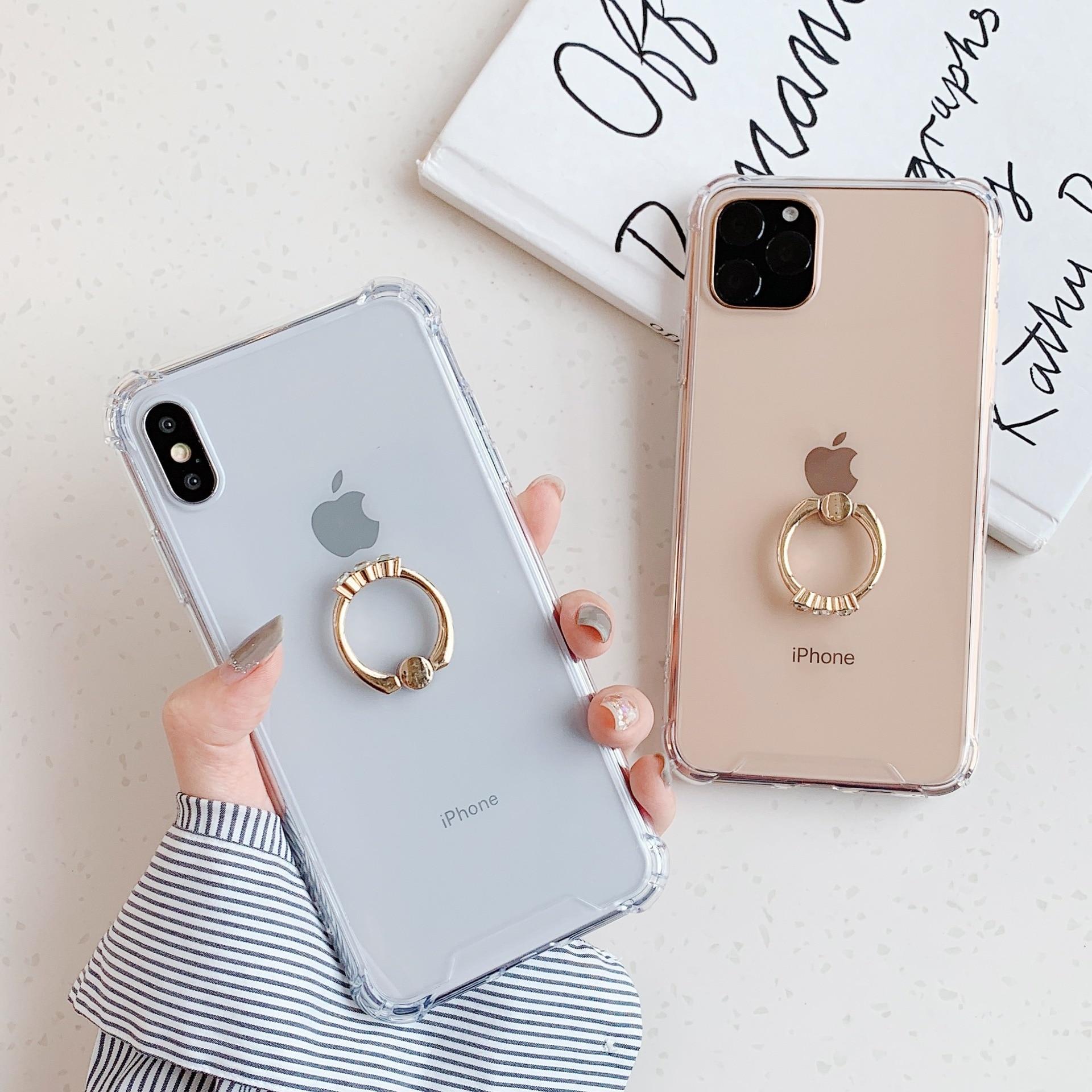 Luxus Transparent Für iPhone 11 Fall 11 Pro Max XR X XS Max 8 7 Plus Fall Gold Finger Ring klar Zurück Abdeckung Fundas Coque