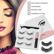 3 pairs magnetic eyelashes and eyeliner set natural eyelash extensions 3d magnetic lashes mink wholesale