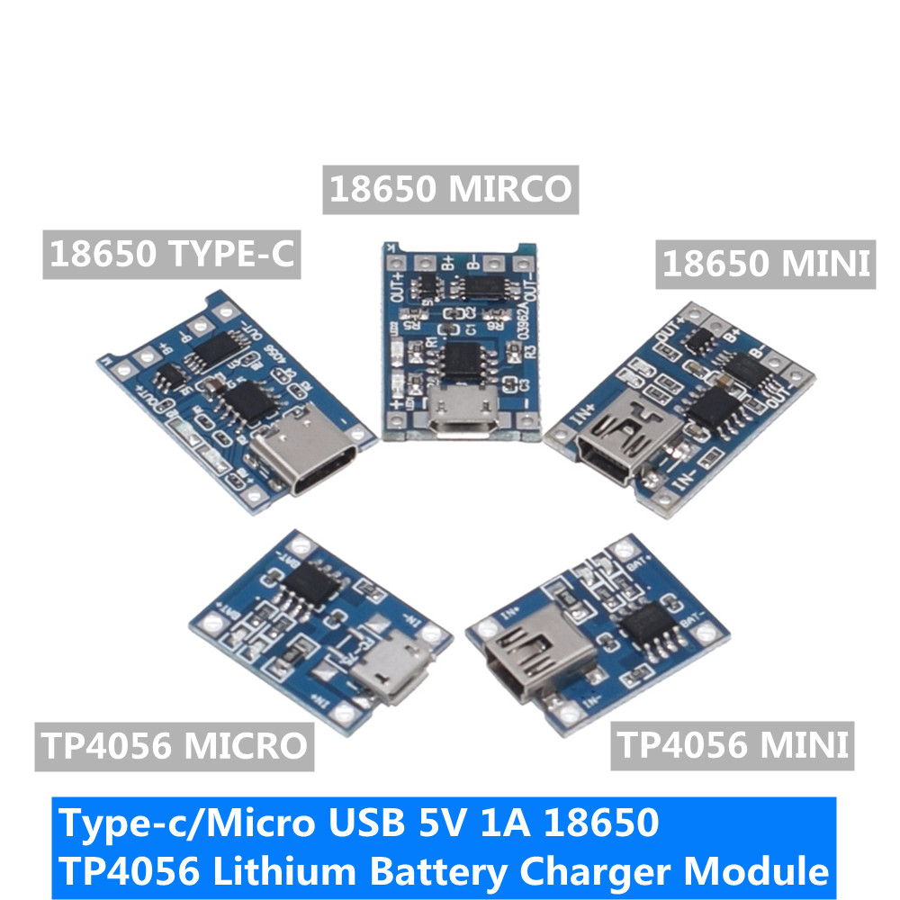 1PCS type-c/Micro USB 5V 1A 18650 TP4056 Lithium Battery Charger Module Charging Board With Protection Dual Functions 1A Li-ion