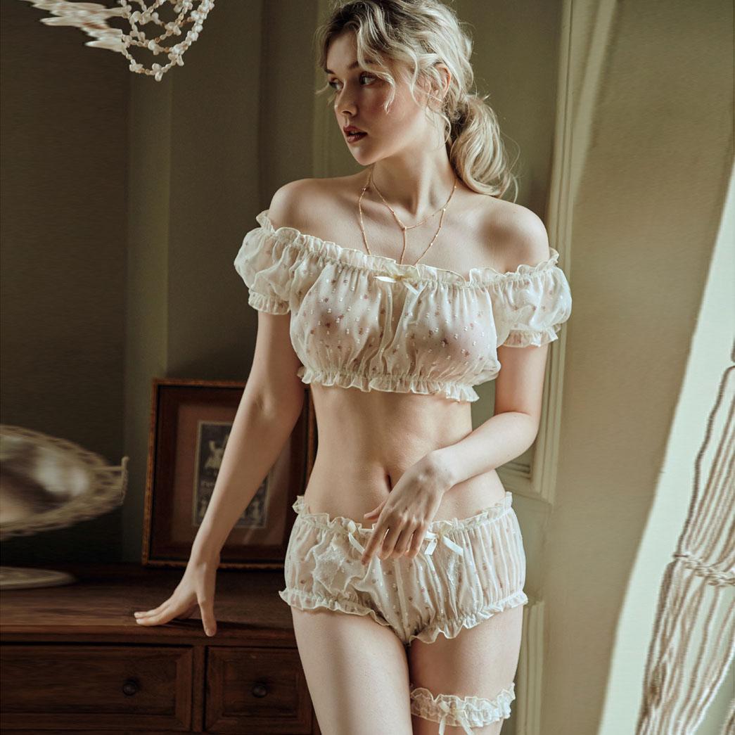 Tentação sexy pijamas feminino sheer estrelas ultra-fino gaze babados fora do ombro manga topos shorts perna anel lingerie sexy conjunto