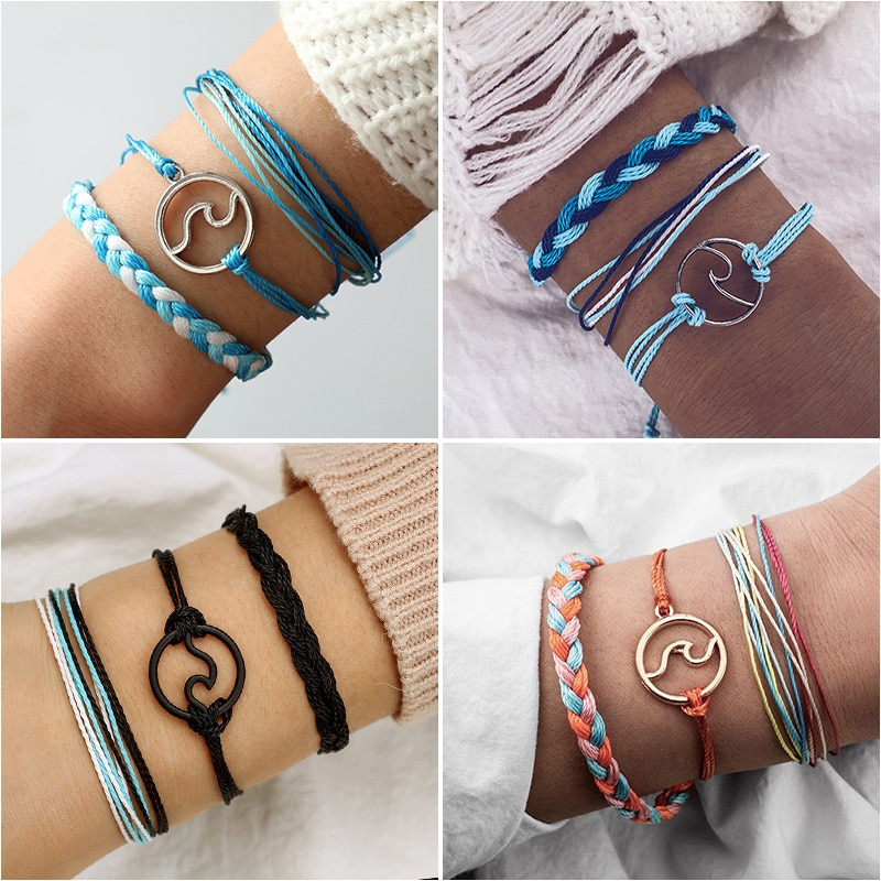 Boêmio corda de malha pulseiras, conjunto para mulher multicamada boho oceano mar onda colorida artesanal pulseira moda jóias presentes