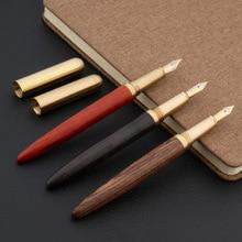 Qualité de luxe calligraphie stylo plume rouge bois laiton torsion filature or fude flexion plume encre stylo bureau fournitures scolaires nouveau