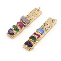 hot selling natural semi precious stones rectangular shell pendant beads boutique making diy fashion charm necklace bracelet