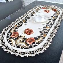 Nappes brodées en Rose Vintage   Vintage créative, couverture de Table ovale, nappe en tissu Satin, décor de fête de mariage